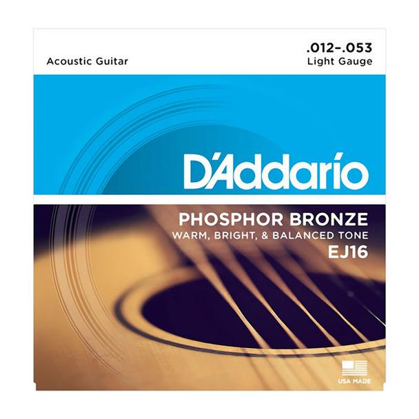 D'Addario EJ16-3D Phosphor Bronze Acoustic Guitar Strings, Light 12-53 (3 Pack)