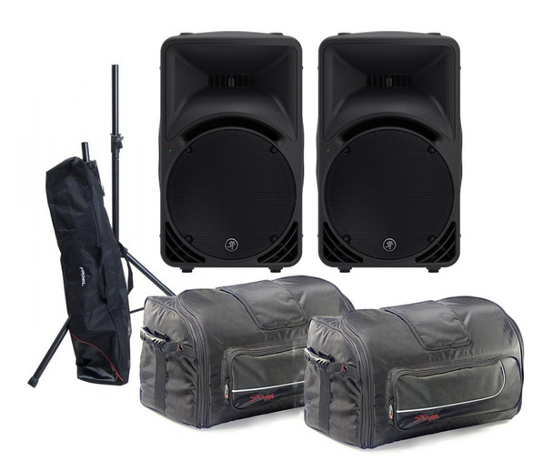Mackie SRM450v3 Active PA Speaker Pair plus Stands and Bags