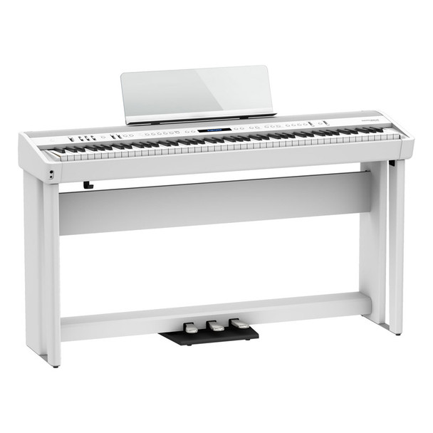 Roland FP-90X Digital Piano with Stand and Pedalboard, White