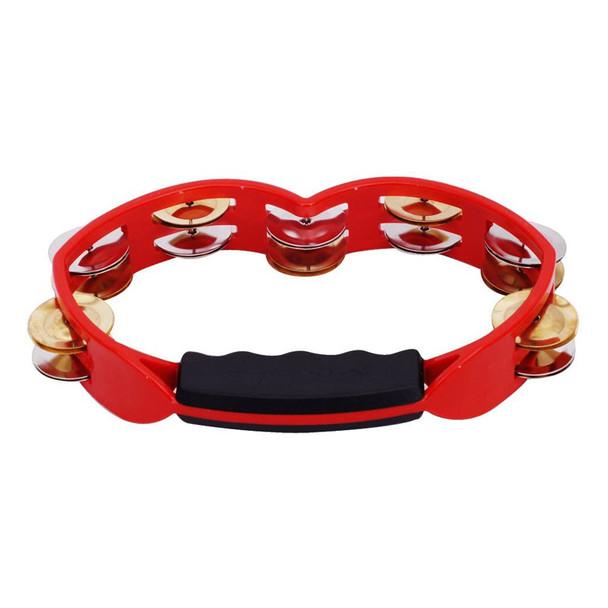 Tycoon Red Plastic Hand Held Tambourine, Dark Jingles