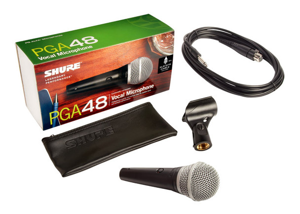 Shure PGA48-QTR Handheld Dynamic Microphone with XLR to 1/4 inch Jack Cable