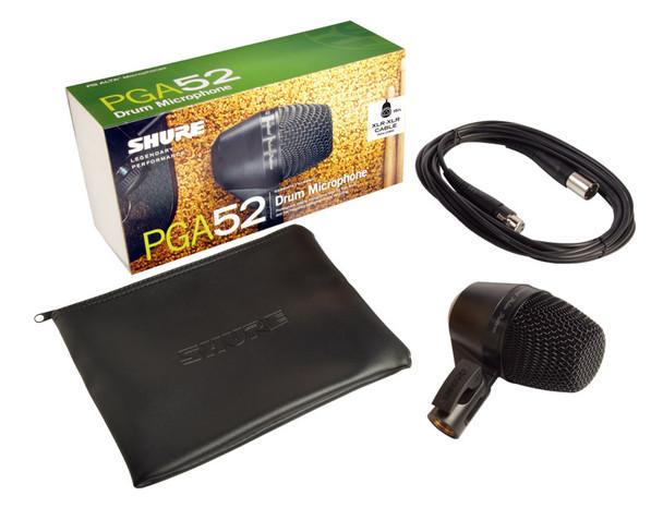 Shure PGA52-XLR Dynamic Kick Drum Microphone with XLR-XLR Cable