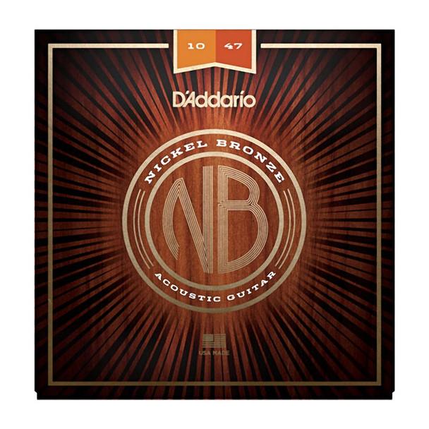 D Addario NB1047 Nickel Bronze Acoustic Guitar Strings, Extra Light, 10-47
