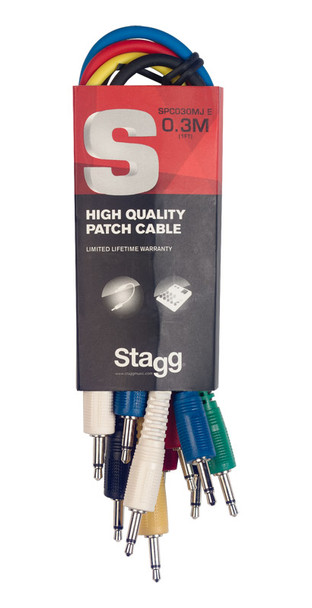 Stagg SPC030MJ E 30 cm Mono Minijack Patch Cable Set, Six Pack