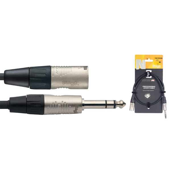 Stagg NAC1PSXMR 1m/3ft Balanced 1/4 inch Male Jack to Male XLR Cable