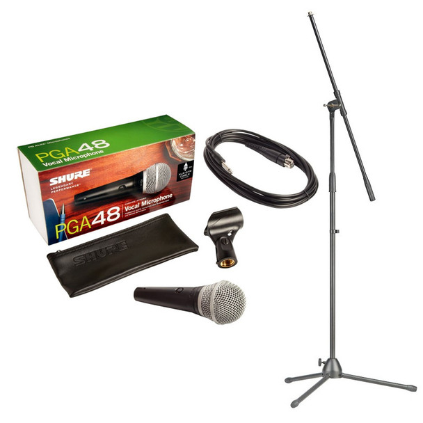 Shure PGA48-QTR Handheld Dynamic Microphone inc. Cable and Stand