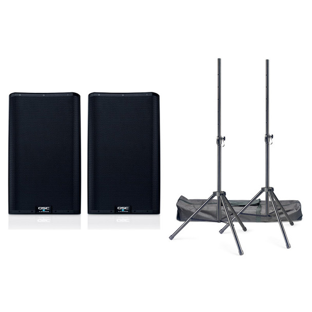 QSC K12.2 Active PA Speaker Bundle Including Stands and Cables