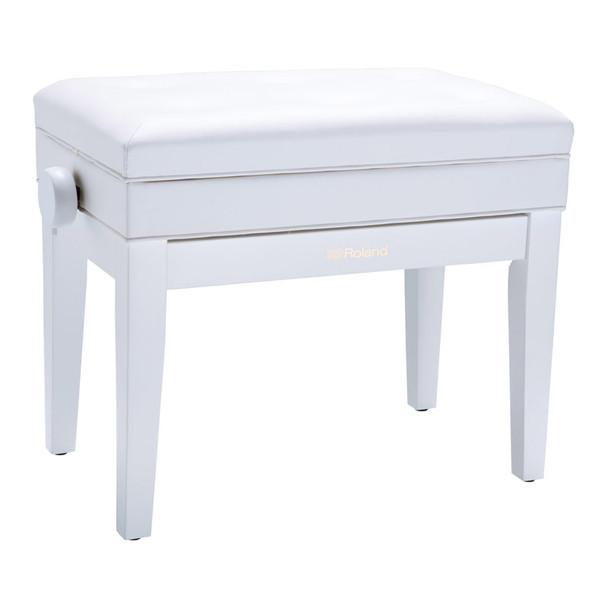 Roland RPB-400WH Rise & Fall Piano Bench w. Storage, White, Cushion Top