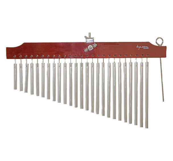 Tycoon 25 Chrome Bar Chimes with Curved Siam Oak Bar