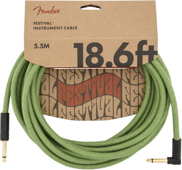 Fender 18.6 foot Angled Jack Festival Instrument Cable, Pure Hemp, Green