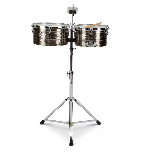 Natal NT1213TNIC Black Nickel 12 & 13 Inch Timbales with Stand