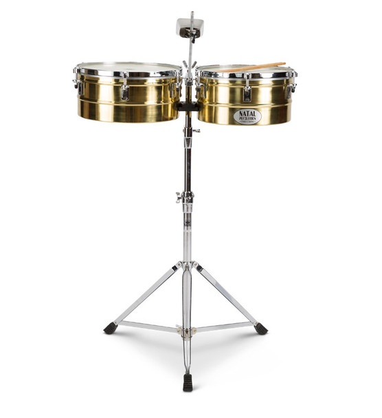 Natal NT1314TBRA Brass 13 & 14 Inch Timbales with Stand