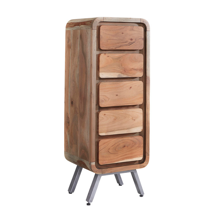 Kavali Reclaimed Five Drawer Tall Chest