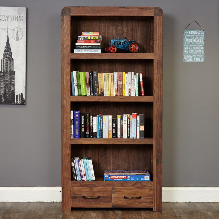 Shiro Walnut Large Two Drawer Bookcase - CDR01A - 1