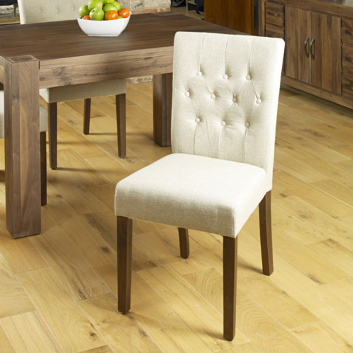 Two cream linen chairs - CDR03D - 1