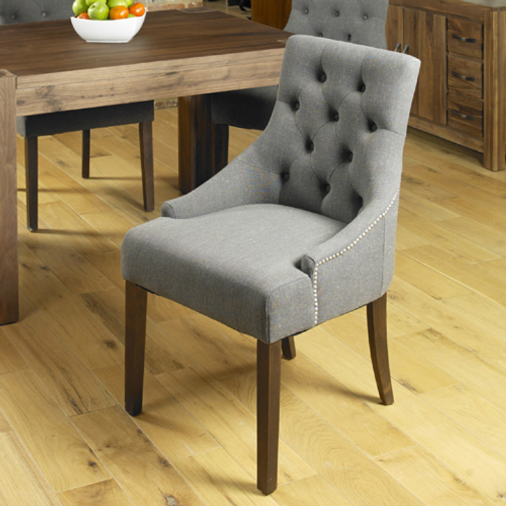 Two grey linen dining chairs with arms - CDR03F - 1