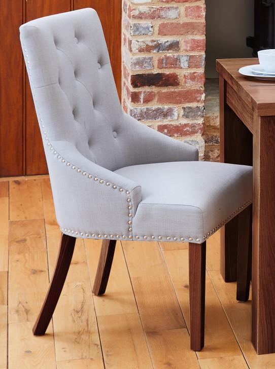 Shiro Walnut Narrow Back Light Grey Upholstered Dining Chairs - 1