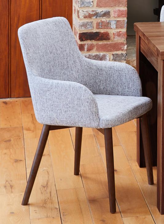Shiro Walnut Light Grey Upholstered Dining Chairs - 1