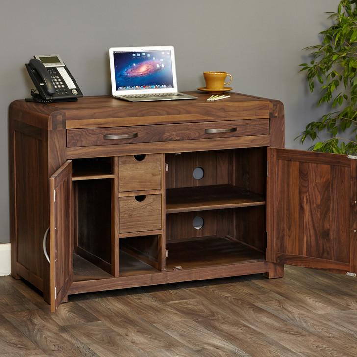 Shiro Walnut Hidden Home Office - CDR06A - 1