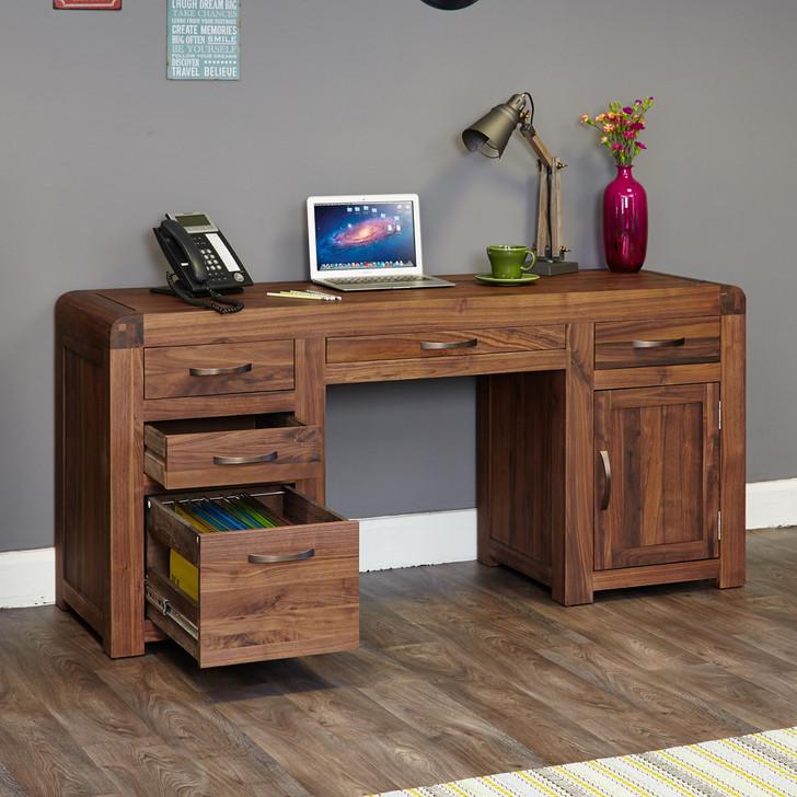 Shiro Walnut Twin Pedestal Computer Desk - CDR06B - 1