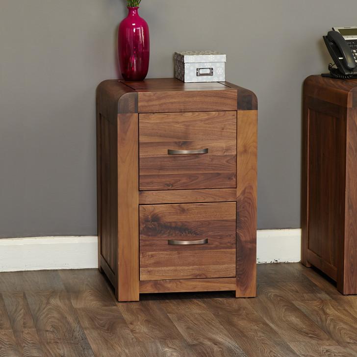 Shiro Walnut Two Drawer Filing Cabinet - CDR07A - 1