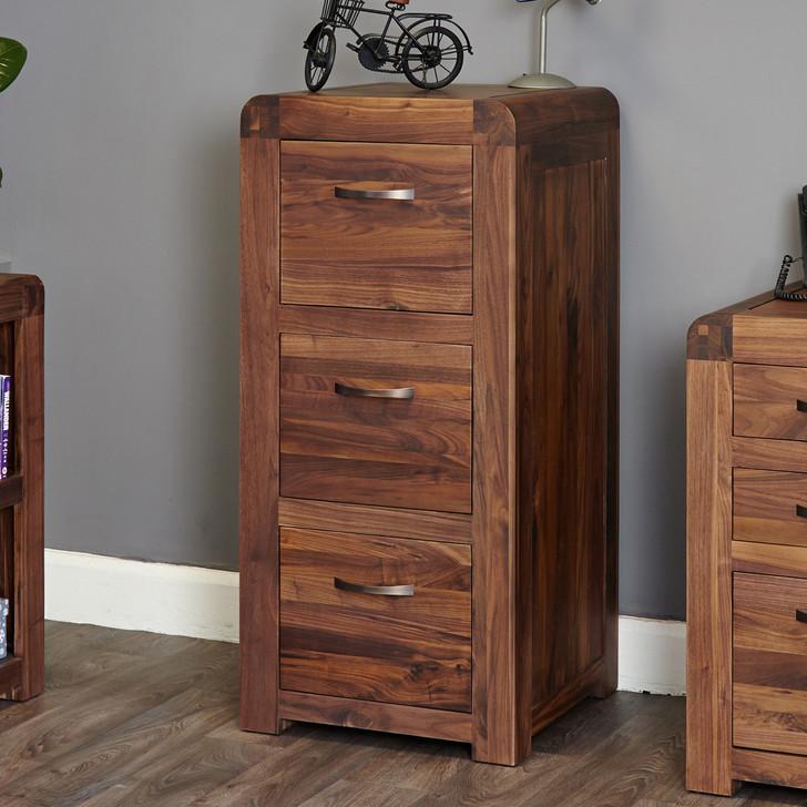 Shiro Walnut 3 Drawer Filing Cabinet - CDR07B - 1