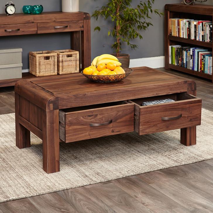 Shiro Walnut Four Drawer Coffee Table - CDR08C - 1