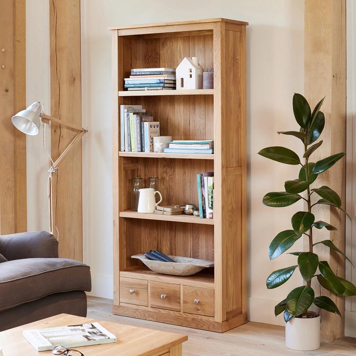Mobel Oak Large Three Drawer Bookcase - COR01A - 1