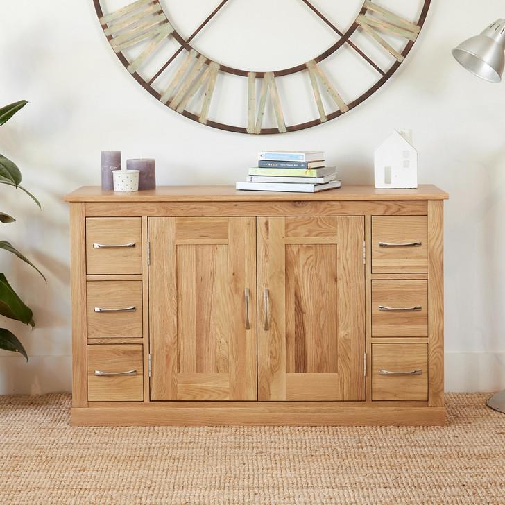 Mobel Oak Six Drawer Sideboard - COR02B - 1