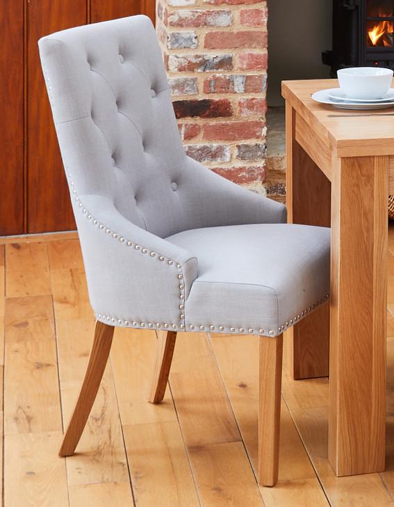 Mobel Oak Narrow Back Light Grey Upholstered Dining Chairs - 1