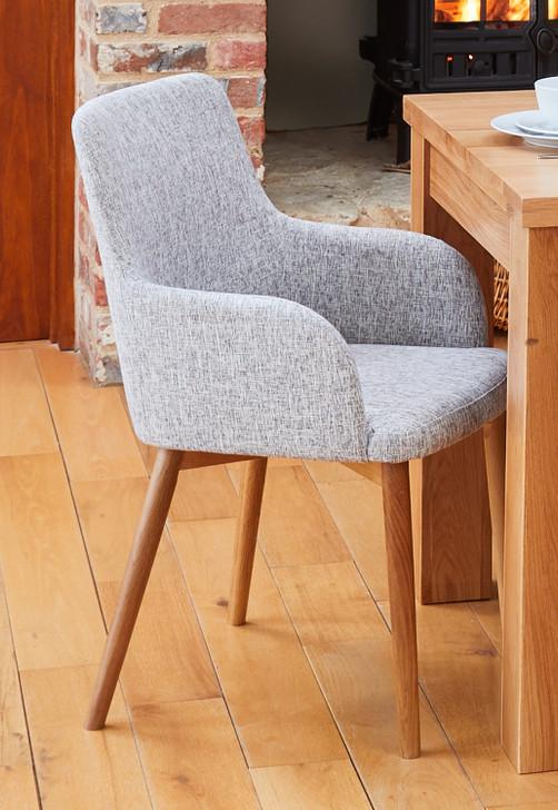 Mobel Oak Light Grey Upholstered Dining Chairs - 1