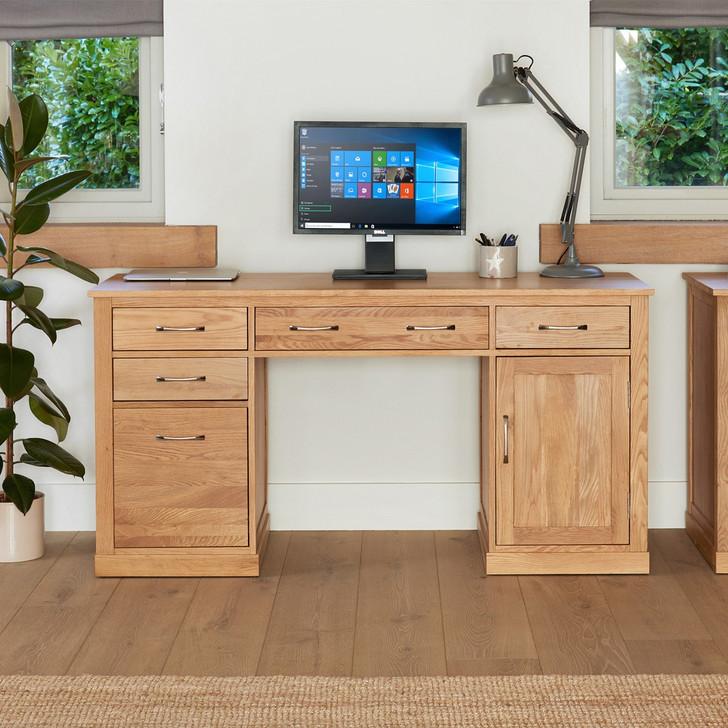 Mobel Oak Twin Pedestal Computer Desk - COR06C - 1
