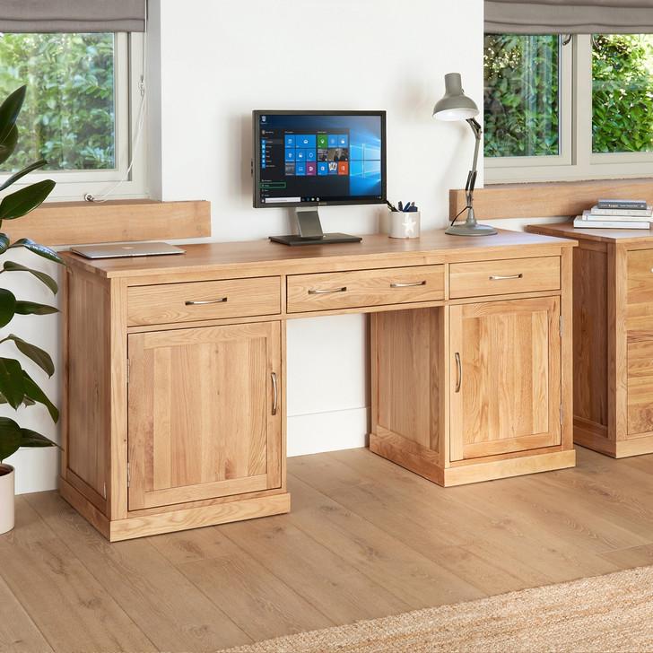 Mobel Oak Large Hidden Office Twin Pedestal Desk - COR06D - 1