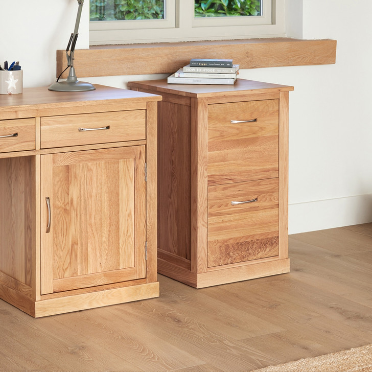 Mobel Oak Two Drawer Filing Cabinet - COR07A - 1