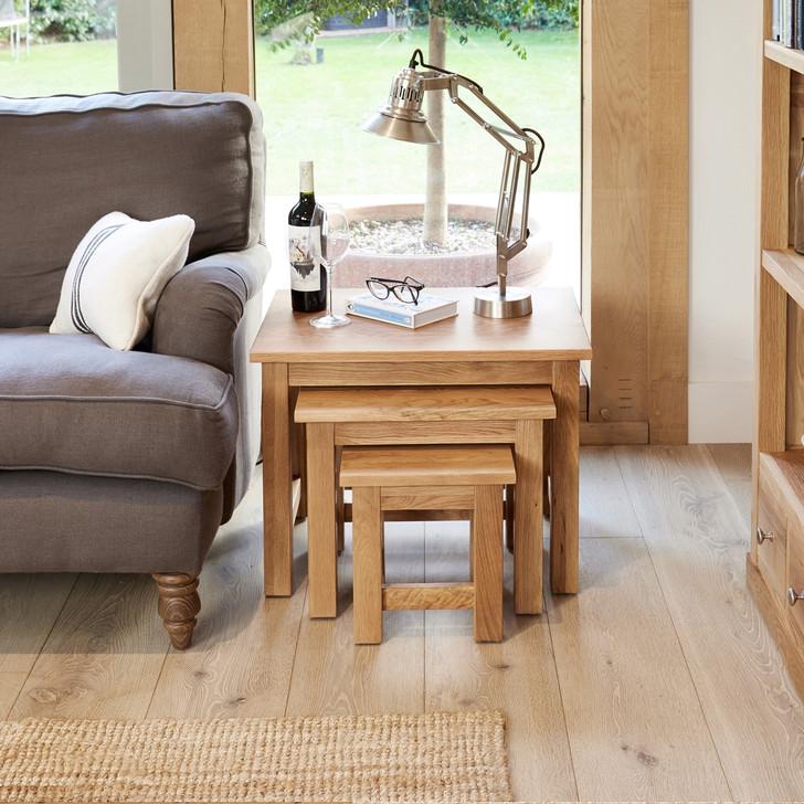 Nest of three Mobel Oak Coffee Tables - COR08A - 1