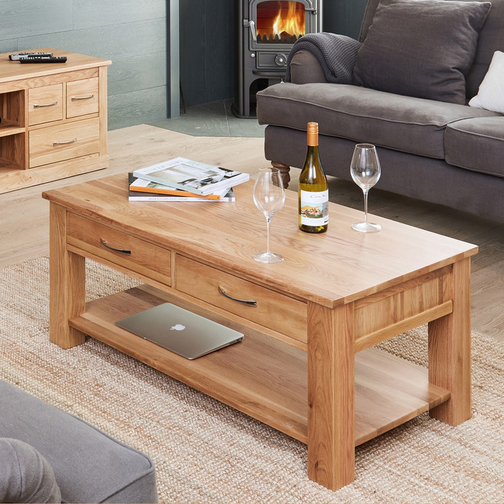 Mobel Oak Four Drawer Coffee Table - COR08D - 1