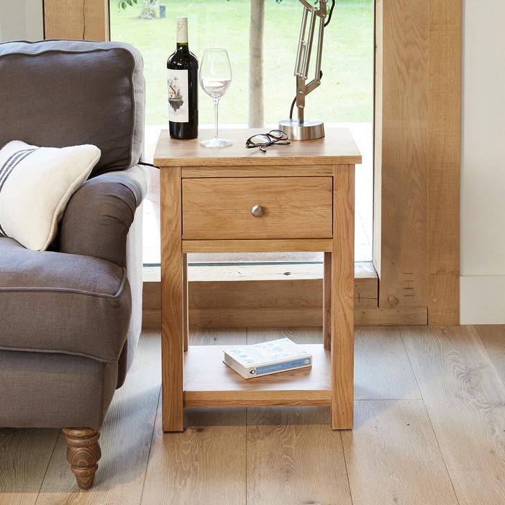 Mobel Oak One Drawer Lamp Table - COR10A - 1