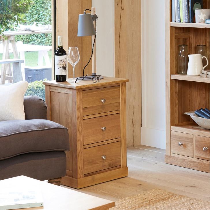 Mobel Oak Three Drawer Lamp Table - COR10B - 1