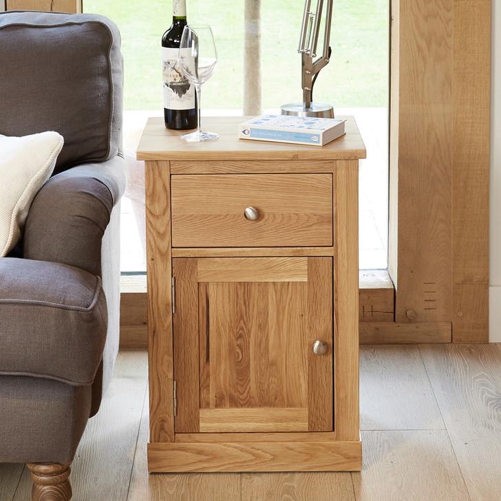 Mobel Oak Single Door and Drawer Lamp Table - COR10C - 1