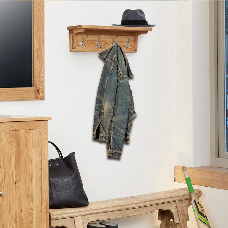 Mobel Oak Wall Mounted Coat Rack - COR20B - 1