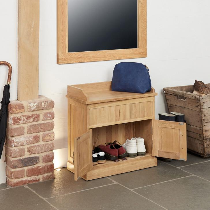 Mobel Oak Shoe Bench with Hidden Storage - COR20C - 1