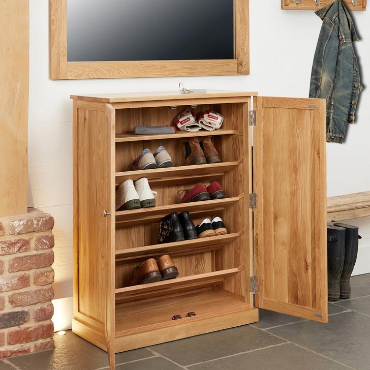 Mobel Oak Large Shoe Cabinet - COR20D - 1
