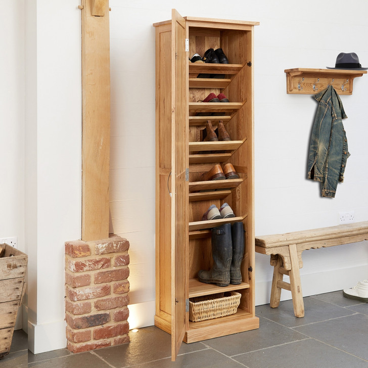 Mobel Oak Tall Shoe Cupboard - COR20E - 1