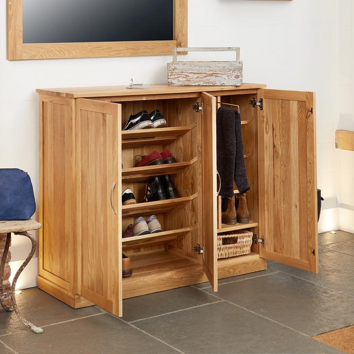 Mobel Oak Extra Large Shoe Cupboard - COR20F - 1