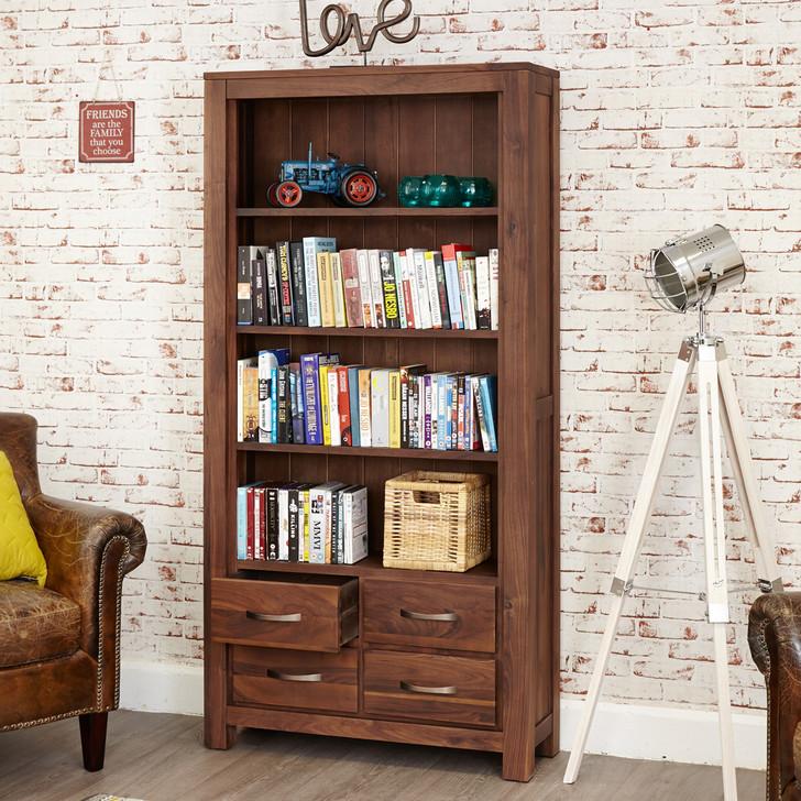 Mayan Walnut Large 4 Drawer Bookcase - CWC01A - 1