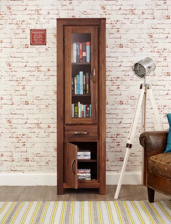 Mayan Walnut Narrow Glazed Bookcase - CWC01C - 1