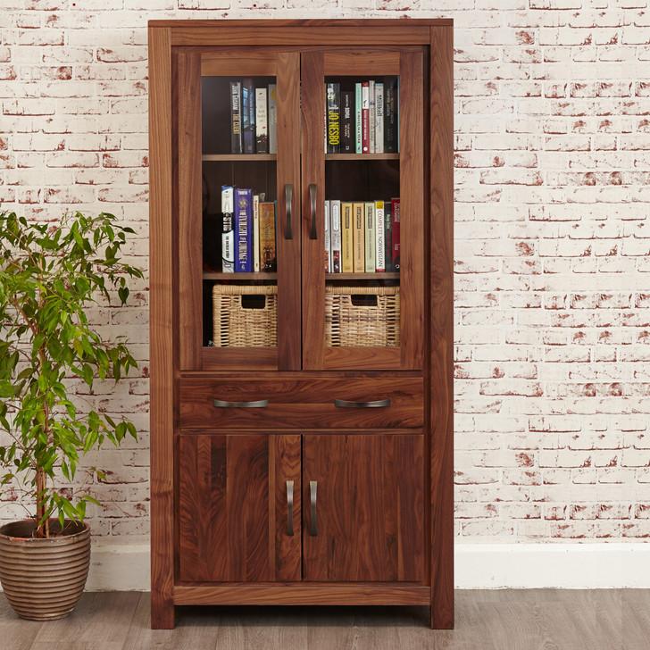 Mayan Walnut Large Glazed Display Cabinet - CWC01D - 1