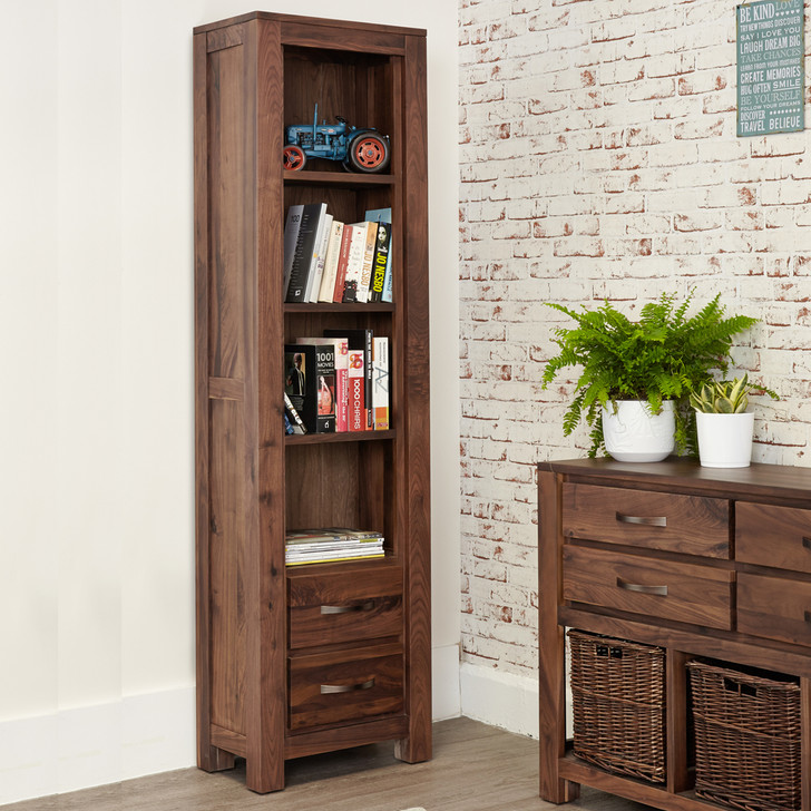 Mayan Walnut Narrow Bookcase - CWC01F - 1