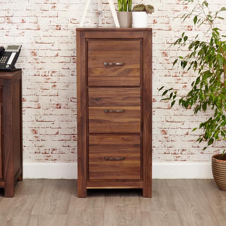 Mayan Walnut Three Drawer Filing Cabinet - CWC07B - 1