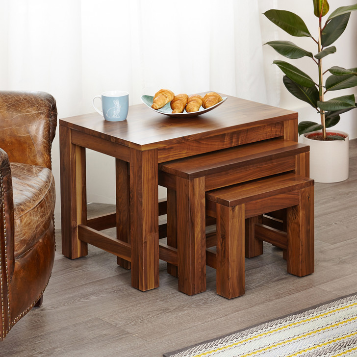 Mayan Walnut Nest of 3 Coffee Tables - CWC08A - 1